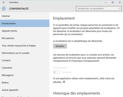 Confidentialité sous Windows 10